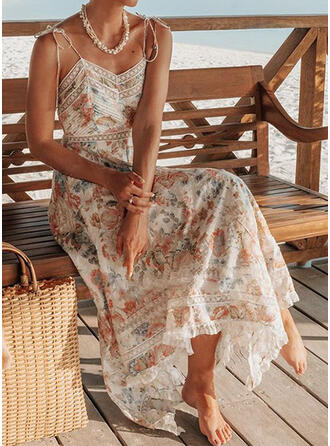 Lace/Print/Floral Sleeveless A-line Asymmetrical Casual/Vacation Dresses