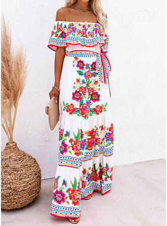 Print/Floral 1/2 Sleeves A-line Skater Casual/Boho/Vacation Maxi Dresses