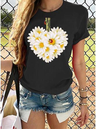 Drucken Blumen Rundhalsausschnitt Kurze Ärmel Freizeit T-shirts
