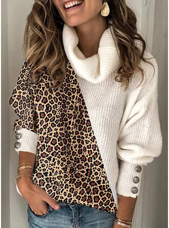 Color Block Leopard Turtleneck Casual Sweaters