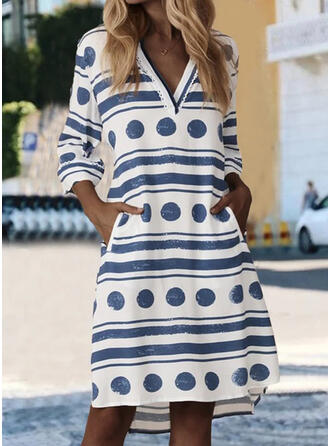 PolkaDot/Striped 3/4 Sleeves Shift Knee Length Casual Dresses