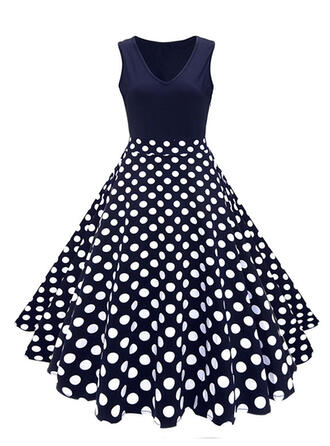 Print/Floral/PolkaDot Sleeveless A-line Vintage/Party Midi Dresses