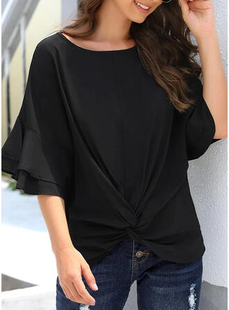 Solid Round Neck Flare Sleeve 3/4 Sleeves Casual T-shirts