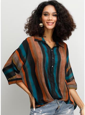Цветной блок В полоску отворот Рукава 3/4 Кнопка вверх Повседневная Рубашка Блузки
