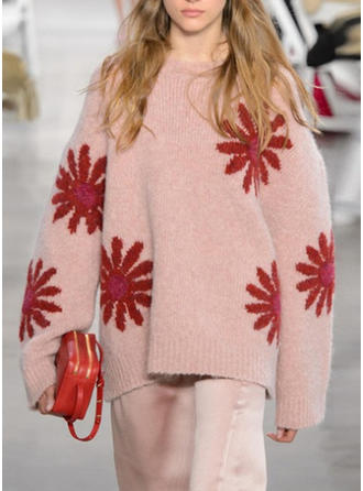 Floral Chunky knit Round Neck Sweaters