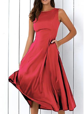 Solid Sleeveless A-line Vintage/Little Black/Party/Elegant Midi Dresses