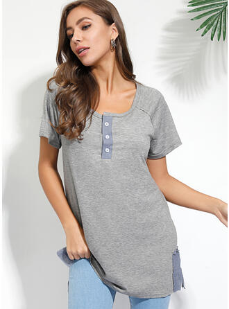 Solid V-Neck Short Sleeves Button Up Casual Knit T-shirts