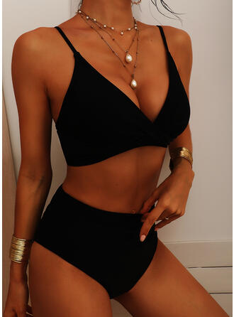 Solid Color High Waist Strap V-Neck Sexy Vintage Fresh Bikinis Swimsuits