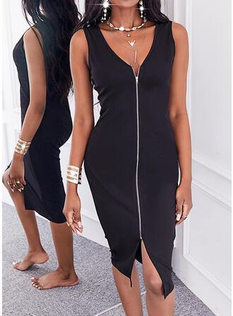 Couleur Unie Sans Manches Moulante Longueur Genou Petites Robes Noires/Décontractée Robes