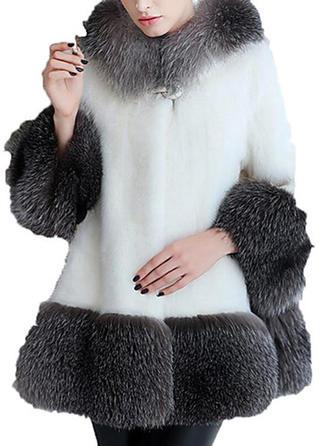 Sztuczne Futro Długie rękawy Jednolity kolor Szerokie Płaszcze