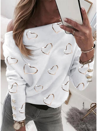 Print Heart One-Shoulder Long Sleeves Casual Blouses