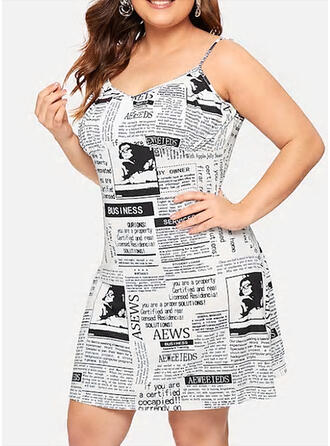 Print Sleeveless Sheath Above Knee Sexy/Casual/Vacation/Plus Size Dresses