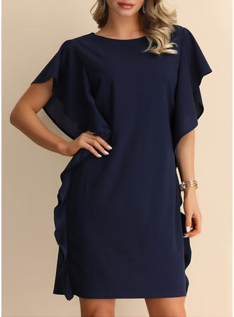 Solid Short Sleeves/Batwing Sleeves Shift Knee Length Casual/Party Dresses