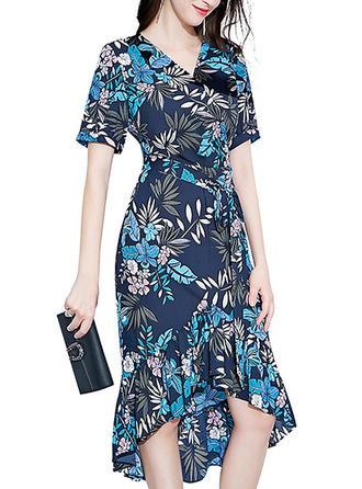 Print V-neck Asymmetrical Sheath Dress