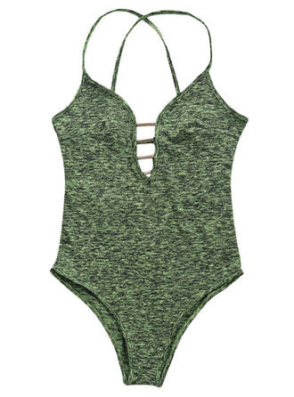 Sexy Solid Color Polyester One-piece Swimwear
