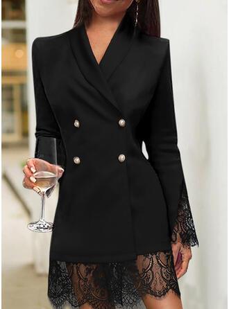 Lace/Solid Long Sleeves Sheath Knee Length Little Black/Elegant Dresses