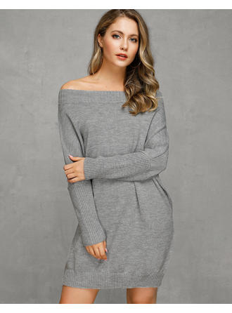Solid Cable-knit Chunky knit Off the Shoulder Sweater Dress