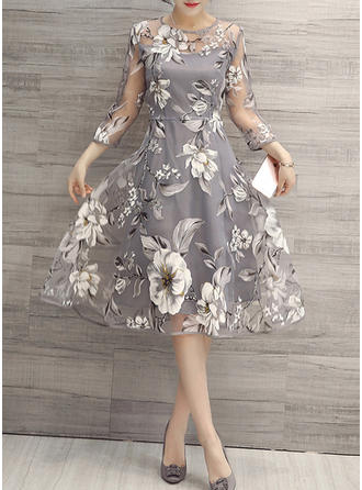 Polyester/Organza With Print Above Knee/Knee Length Dress