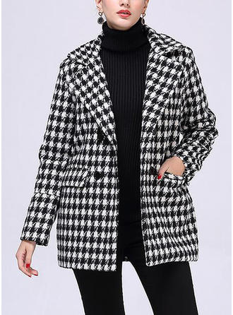 Polyester Cotton Long Sleeves Houndstooth Blend Coats
