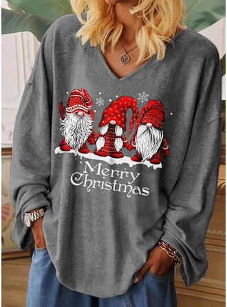 Print Figure V-Neck Long Sleeves Casual Christmas T-shirts