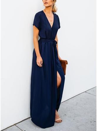 Krótkie rękawy Linia A Maxi Nieformalny Sukienki