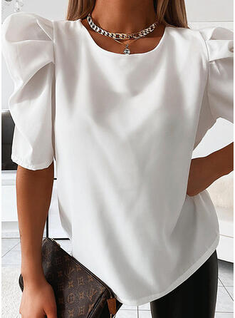 Solid Round Neck Puff Sleeves 1/2 Sleeves Casual Elegant Blouses