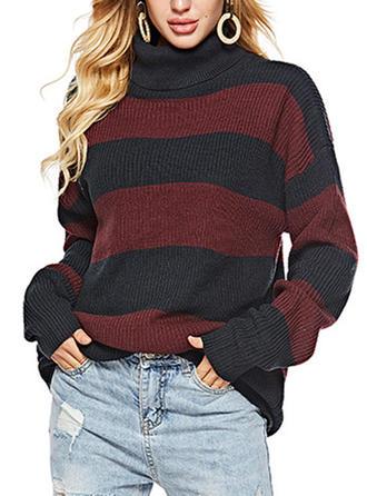 Mieszanki bawełniane Stań kołnierz Prążek Swetry