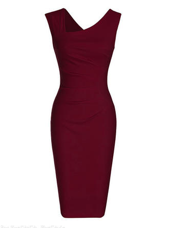 Solid Sleeveless Bodycon Knee Length Party/Elegant Dresses