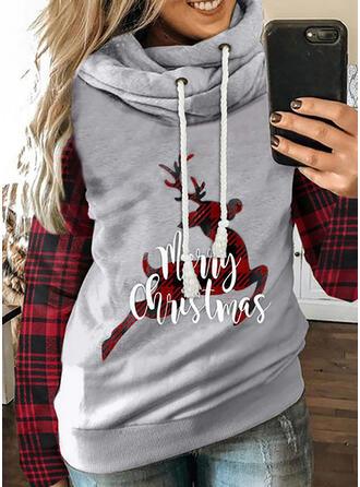 Dyr Grid Figur Lange ærmer Jule sweatshirt