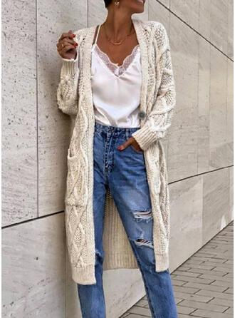 Solido Cavo Knit Tasche Casual Lungo Cardigan