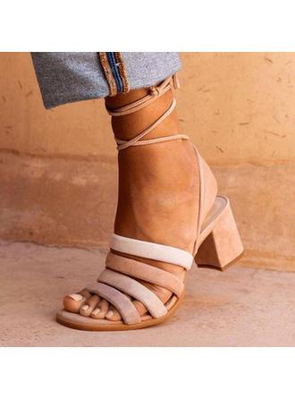 Frauen PU Stämmiger Absatz Sandalen Absatzschuhe mit Zuschnüren Schuhe
