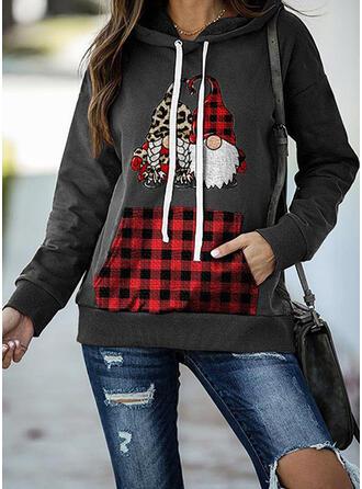 Print Grid Leopard Lommer Lange ærmer Jule sweatshirt
