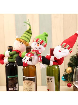 Feliz Navidad Monigote de nieve Reno Papa Noel Tela Tapa de la botella