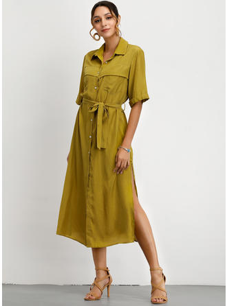 Solid 1/2 Sleeves A-line Midi Casual Dresses