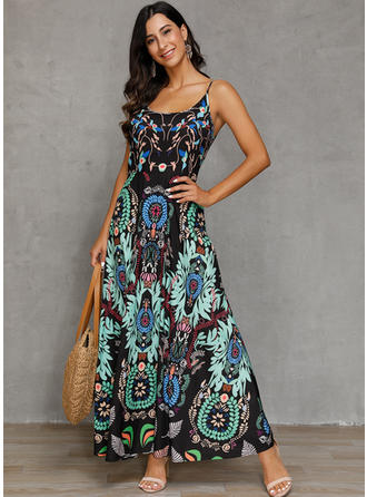 Print/Floral Sleeveless A-line Maxi Casual/Boho/Vacation Dresses