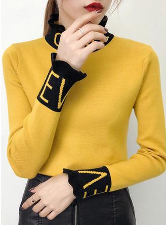 Algodón Cuello De Tortuga Color sólido Suéteres