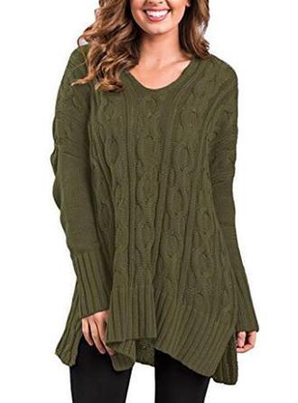 Knit V-neck Cable-knit Sweater
