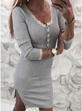 Koronka/Jednolita Długie rękawy Bodycon Długośc do kolan Casual Sukienki