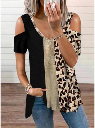 Colorido Leopardo Estampado Ombro Frio Manga Curta Camisetas
