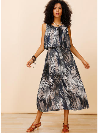 Print Sleeveless A-line Midi Casual Dresses