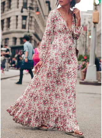 Print Bohemian Floral V-neck Maxi Shift Dress