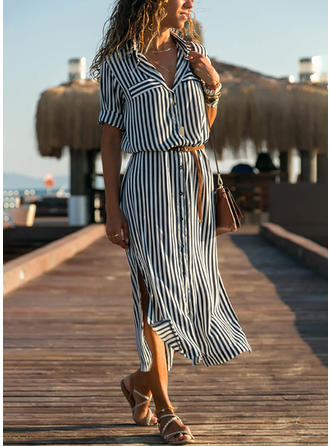 Striped 3/4 Sleeves A-line Midi Casual Dresses