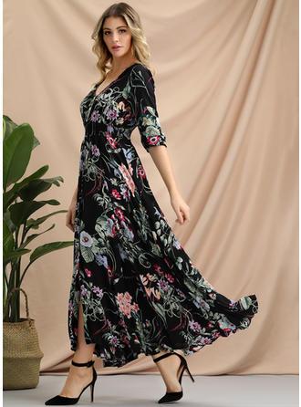 Print/Floral Long Sleeves Shift Maxi Casual/Boho Dresses