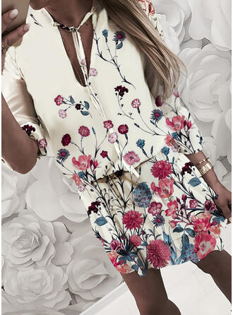 Print/Floral 3/4 Sleeves Sheath Above Knee Casual/Elegant Dresses