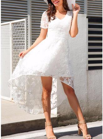 Solid Hollow V-neck Asymmetrical A-line Dress