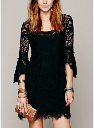 Lace/Solid 3/4 Sleeves Shift Above Knee Party Dresses