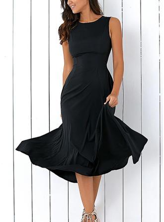 Solid Round Neck Midi A-line Dress