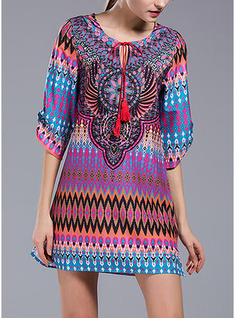 Print 1/2 Sleeves Shift Above Knee Casual/Boho Dresses