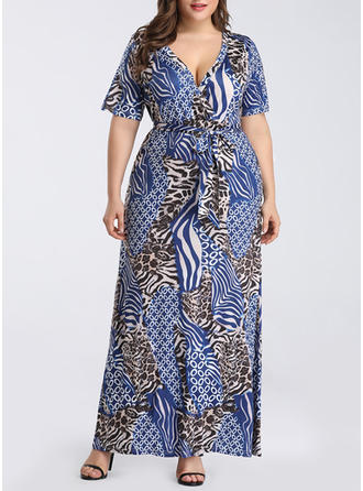 Print/Animal Print Short Sleeves A-line Maxi Casual/Boho/Vacation Dresses