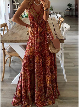 Print Sleeveless A-line Slip/Skater Casual/Boho/Vacation Maxi Dresses